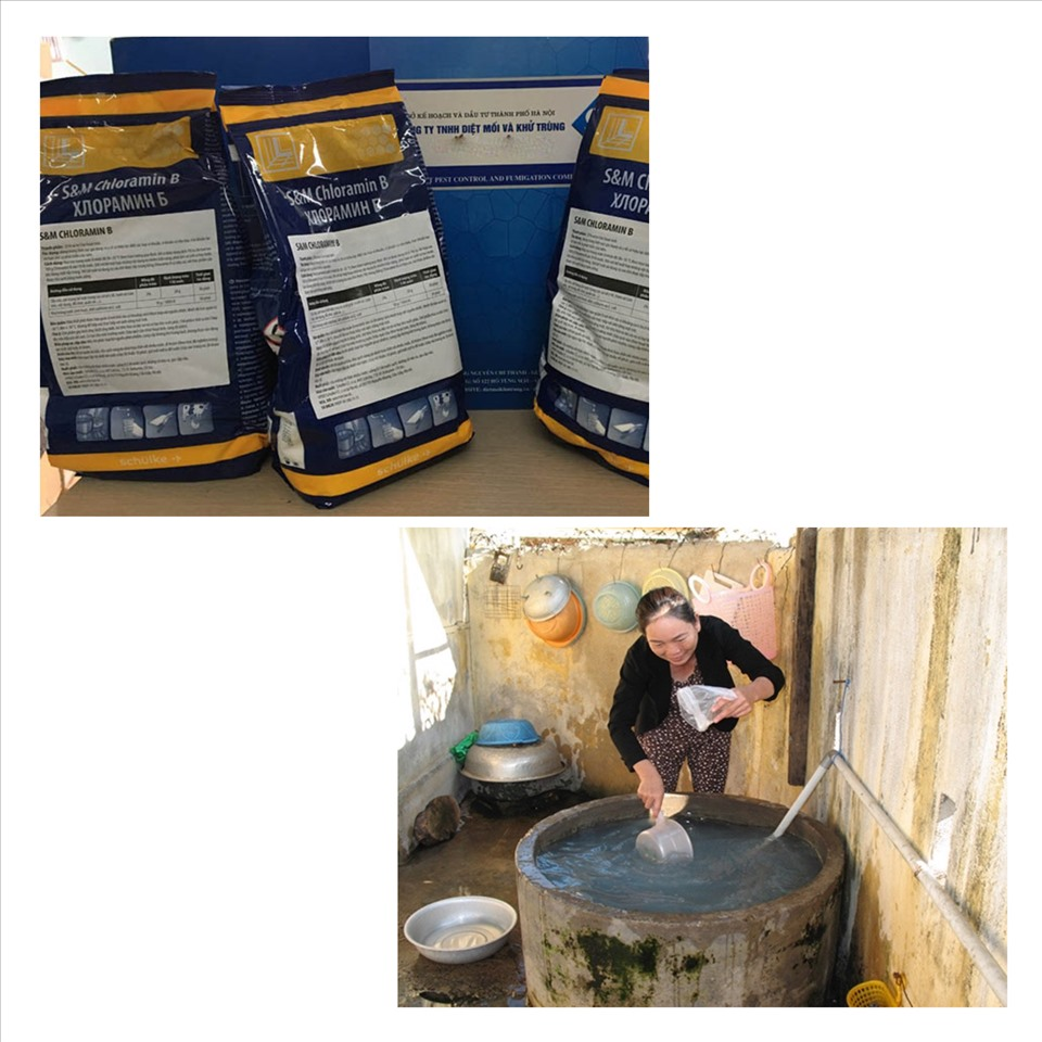 Cloramin B và phèn chua là 2 cách làm sạch nguồn nước phổ biến và hiệu quả. Đồ họa: Đức Mạnh