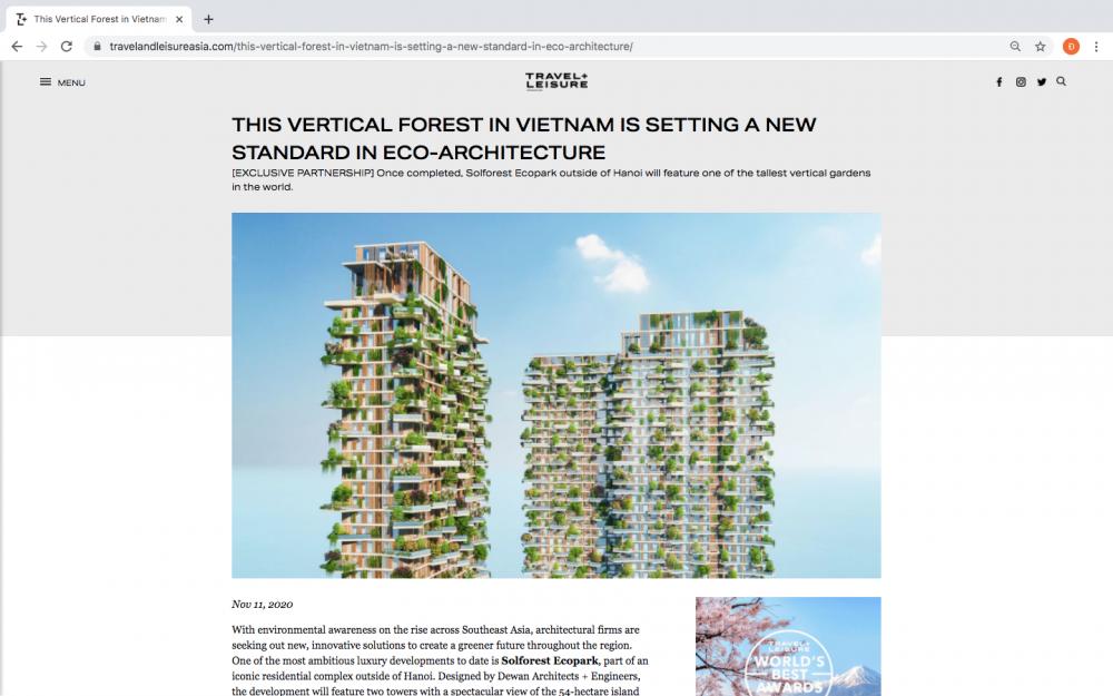 Hàng loạt báo quốc tế viết về toà tháp xanh Ecopark