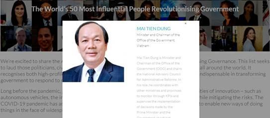 Bộ trưởng Mai Tiến Dũng lọt TOP 50 nhà cải cách quản trị có tầm ảnh hưởng của thế giới